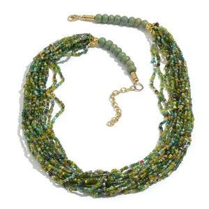 """Green Seed Bead Necklace 22"""" NWOT"""
